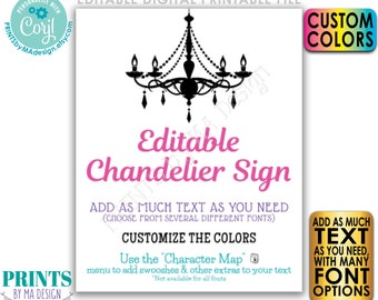 """Editable Chandelier Sign, One Custom PRINTABLE 16x20"""" Portrait Sign, Birthday, Wedding, Choose Your Text & Colors <Edit Yourself with Corjl>"""