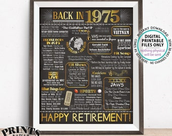 "Retirement Party Decorations, Back in 1975 Poster, Flashback to 1975 Retirement Party Decor, PRINTABLE 16x20"" Sign <ID>"