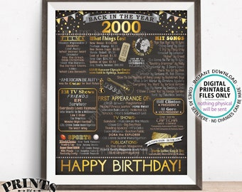 """Back in 2000 Birthday Sign, Flashback to 2000 Poster Board, '00 B-day Gift, Bday Decoration, PRINTABLE 16x20"""" Sign <ID>"""