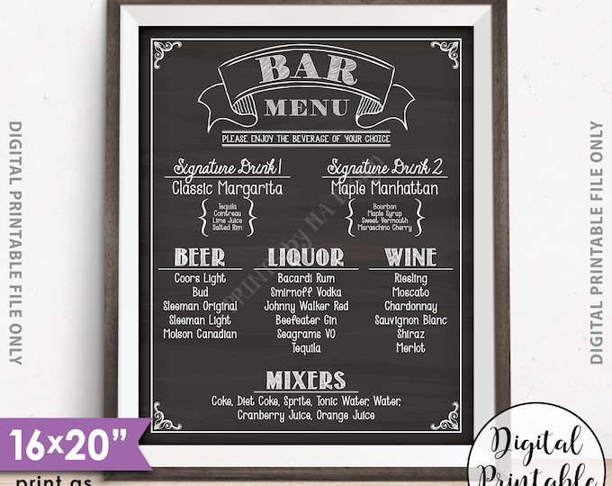 "Bar Menu Sign, Wedding Bar Menu Sign, Birthday Drinks Menu, Anniversary, Retirement, Graduation, Chalkboard Style PRINTABLE 8x10/16x20"" Sign"