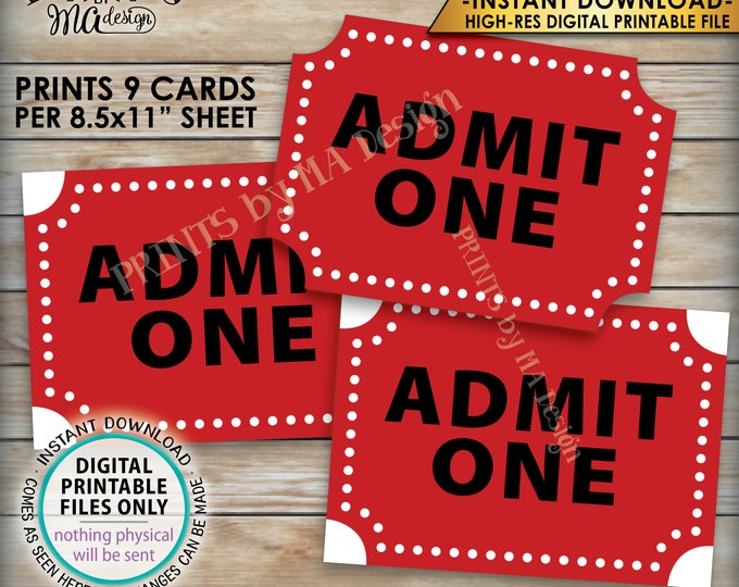 "Admit One Carnival Tickets, Circus Tickets, Birthday, Festival, Carnival Decorations, Nine 2.5x3.5"" tickets per 8.5x11"" PRINTABLE Sheet <ID>"