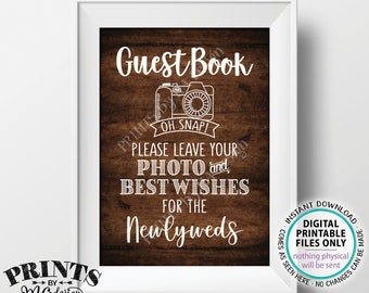 "Guestbook Photo Sign, Leave Your Photo and Best Wishes for the Newlyweds, PRINTABLE 5x7"" Rustic Wood Style Wedding Sign <ID>"