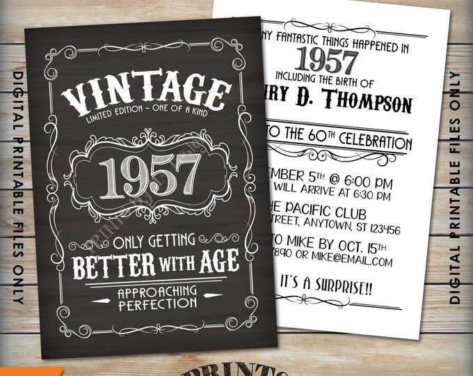 "Vintage Birthday Invitation, Better with Age Whiskey themed Birthday Invite, PRINTABLE Chalkboard Style 5x7"" Digital Files"