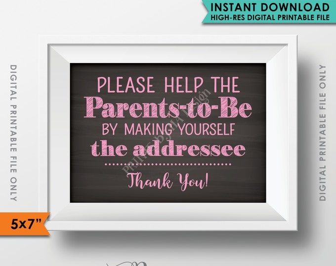 """Baby Shower Address Envelope Sign, Help the Parents-to-Be Address an envelope, It's a Girl, 5x7"""" Chalkboard Style Instant Download Printable"""