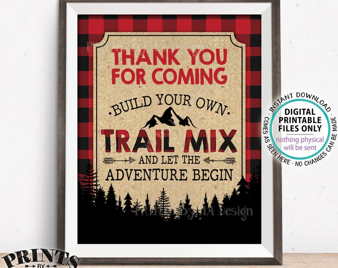 "Lumberjack Trail Mix Sign, Thank you for Coming Build Your Own Trail Mix, Red Checker Buffalo Plaid, PRINTABLE 8x10"" Trail Mix Bar Sign <ID>"