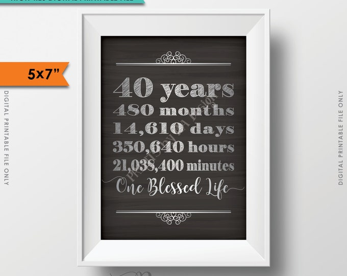 40 Years of Marriage 40th Anniversary Gift, Marriage Milestones, One Blessed Life, Ruby Anniversary, Instant Download Digital Printable File