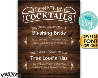 """Signature Cocktails Sign, Bride & Groom Recommend, PRINTABLE 8x10/16x20"""" Rustic Wood Style Wedding Drinks Sign <Edit Yourself w/Corjl>"""