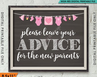 """Advice for the New Parents, Baby Advice, Parenting Advice, Baby Tips, Pink Clothesline, Instant Download 8.5x11"""" Chalkboard Style Printable"""