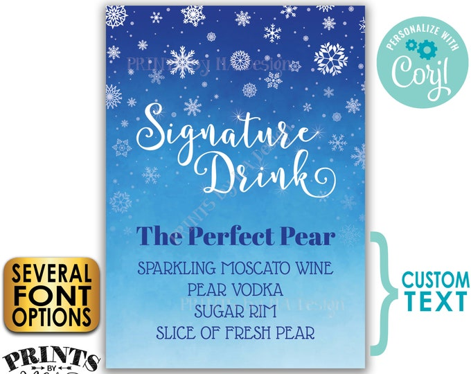 "Signature Drink Sign, Christmas Party Cocktail, Winter Snowflakes, Holiday Bar, Blue PRINTABLE 5x7"" Sign <Edit Yourself w/Corjl>"