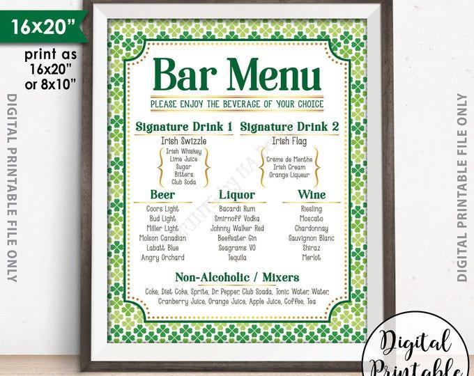 "St. Patrick's Day Bar Menu Sign, St. Patrick's Day Party Drink Menu, St. Paddy's Day Party, Shamrocks, PRINTABLE 8x10/16x20"" Bar Menu Sign"