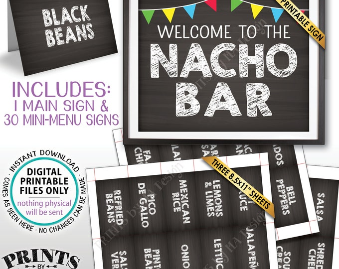 "Nacho Bar Sign and Labels Mexican Food Build Your Own Nachos Station, Welcome, Chalkboard Style PRINTABLE 8x10"" Sign & 2x3.5"" Labels <ID>"