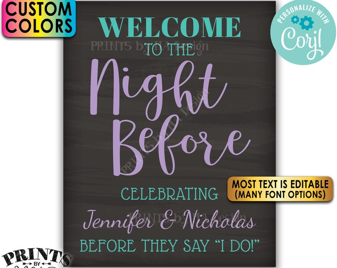 """Rehearsal Dinner Sign, Welcome to the Night Before, Custom PRINTABLE 8x10/16x20"""" Chalkboard style Wedding Sign <Edit Yourself with Corjl>"""