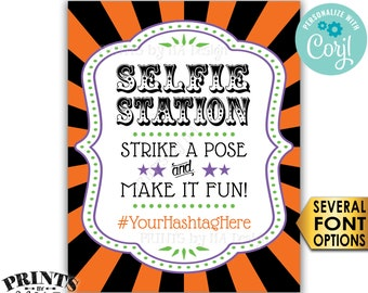 """Halloween Selfie Station Hashtag Sign, Strike a Pose & Make it Fun, PRINTABLE 8x10/16x20"""" Carnival/Circus Sign <Edit Yourself with Corjl>"""