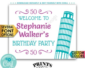 """Italy Themed Birthday Sign, Welcome to the Italian Birthday Celebration, PRINTABLE 16x20"""" Sign <Edit Yourself with Corjl>"""