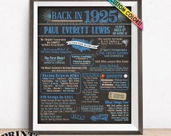 "Back in 1925 Birthday Poster Board, Flashback to 1925 Birthday Decoration, Custom PRINTABLE 16x20"" 1925 Sign"
