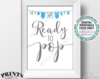 """Ready to Pop Sign, Blue Baby Shower Sign, Popcorn, Cake Pop, Blue Baby Shower Decor, It's a Boy, Baby Clothesline, PRINTABLE 5x7"""" Sign <ID>"""