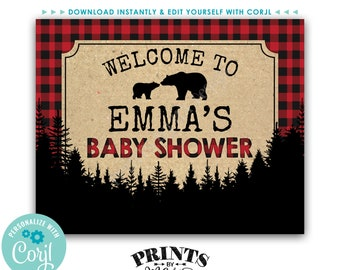 """Lumberjack Baby Shower Lumberjack Sign, PRINTABLE 8x10/16x20"""" Red & Black Checker Welcome Sign <Edit Yourself with Corjl>"""