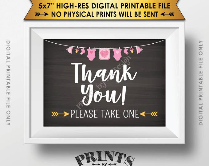 """Thank You Sign, Baby Shower Favors Sign, Thank You Please Take One Sign, Baby Shower Decor, 5x7"""" Chalkboard Style Printable Instant Download"""