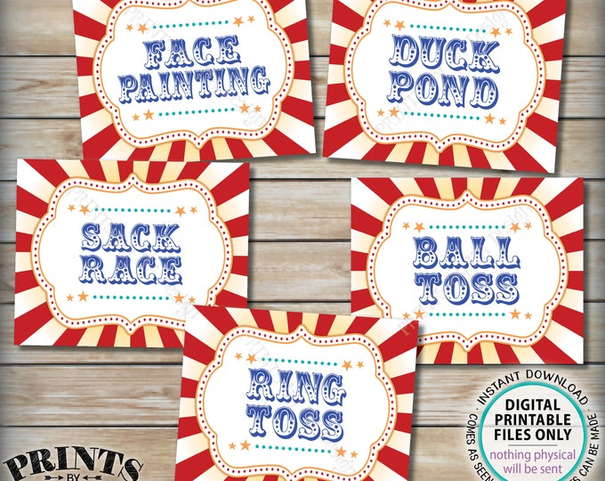 """Carnival Games Signs, Circus Activities, Ball Toss, Ring Toss, Sack Race, Duck Pond, Face Painting, PRINTABLE 8x10/16x20"""" Party Signs <ID>"""