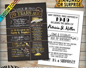 "70th Birthday Party Invitation, Flashback 70 Years Ago Born in 1949 Invite, Custom 70th B-day Invite, PRINTABLE 5x7"" Invitation"