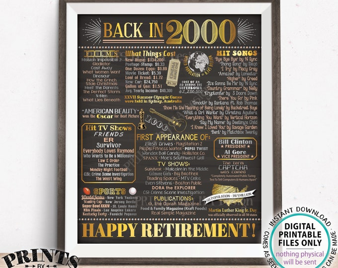 """Retirement Party Decoration, Flashback to 2000 Retiree Poster Board, PRINTABLE 16x20"""" Back in the Year 2000 Sign <ID>"""