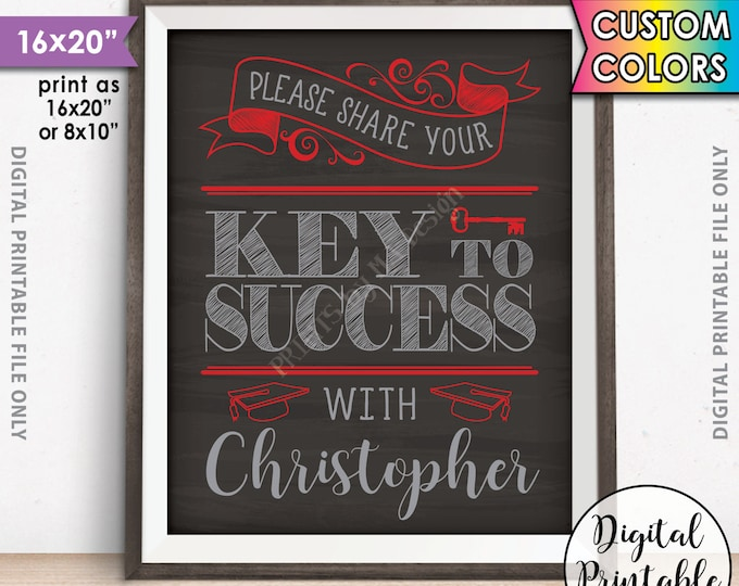 """Key to Success, Please share your Key to Success with the Graduate, Advice for Grad Party Decor, 8x10/16x20"""" Chalkboard Style Printable Sign"""