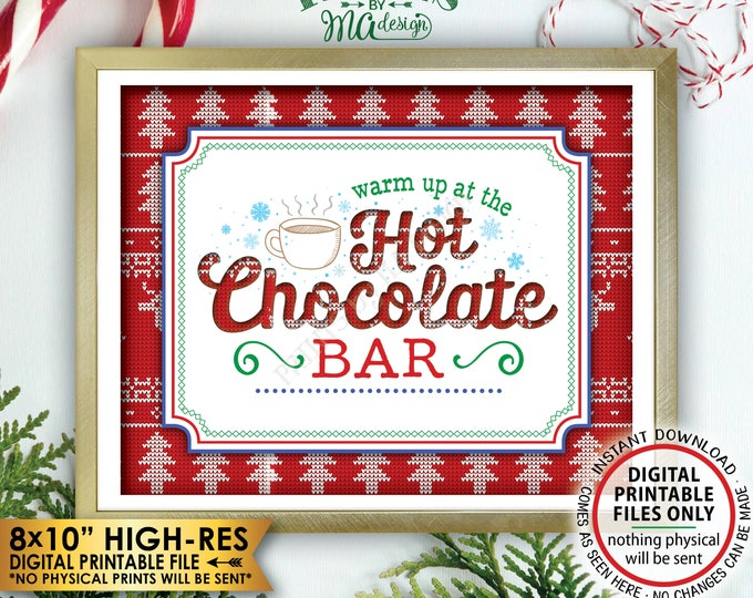 """Hot Chocolate Sign, Warm Up at the Hot Chocolate Bar Ugly Christmas Sweater Party, PRINTABLE 8x10"""" Instant Download Tacky Sweater Party Sign"""