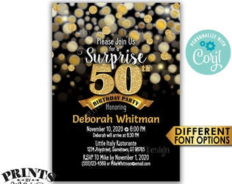 "Surprise 50th Birthday Party Invitation, Black & Gold Glitter Birthday Invite, PRINTABLE 5x7"" Bday Invite <Edit Yourself with Corjl>"