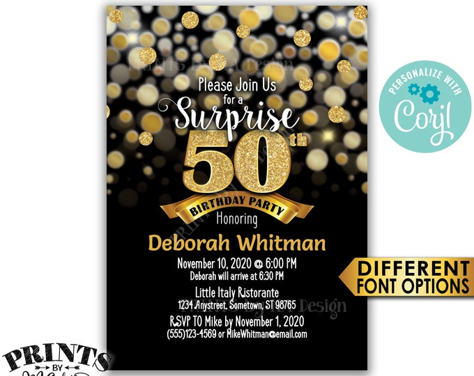 "Surprise 50th Birthday Party Invitation, Black & Gold Glitter Birthday Invite, PRINTABLE 5x7"" Bday Invite <Edit Yourself with Corjl>"