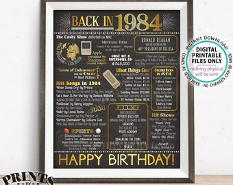 """1984 Birthday Flashback Poster, Back in 1984 Birthday Decorations, '84 B-day Gift, PRINTABLE 16x20"""" B-day Sign <ID>"""
