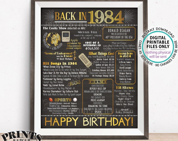 "1984 Birthday Flashback Poster, Back in 1984 Birthday Decorations, '84 B-day Gift, PRINTABLE 16x20"" B-day Sign <ID>"