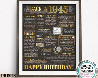 "Back in 1945 Birthday Poster Board, Flashback to 1945 Birthday Decoration, '45 B-day Gift, PRINTABLE 16x20"" Sign, Birthday Decor <ID>"