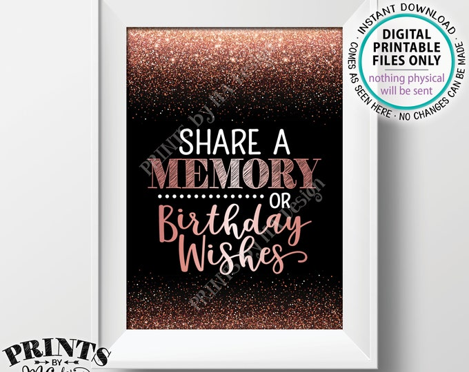 """Share a Memory or Birthday Wishes Sign, Birthday Party Decor, Bday Wish Memories Sign, PRINTABLE Black & Rose Gold Glitter 5x7"""" Sign <ID>"""
