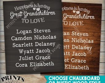Great Grandchildren Sign with Names, Personalized Grandkids Gift for Grandparents, Grandma, Grandpa, Choose Design PRINTABLE Digital File