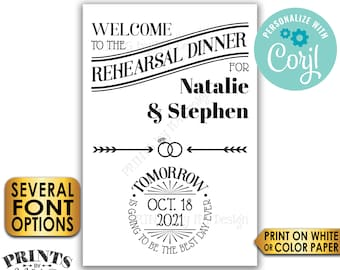 "Rehearsal Dinner Sign, Tomorrow is Going to Be The Best Day Ever, PRINTABLE 24x36"" Wedding Rehearsal Sign <Edit Yourself with Corjl>"