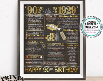 "90th Birthday Gift, Flashback 90 Years Ago Back in 1929 Born in 1929 Birthday, Gold, PRINTABLE 16x20"" B-day Sign <ID>"