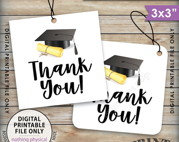 """Graduation Party Tags, Graduation Thank You Tags, Thank You from the Graduate Tags, 3x3"""" tags on 8.5x11"""" Page, Printable, Instant Download"""