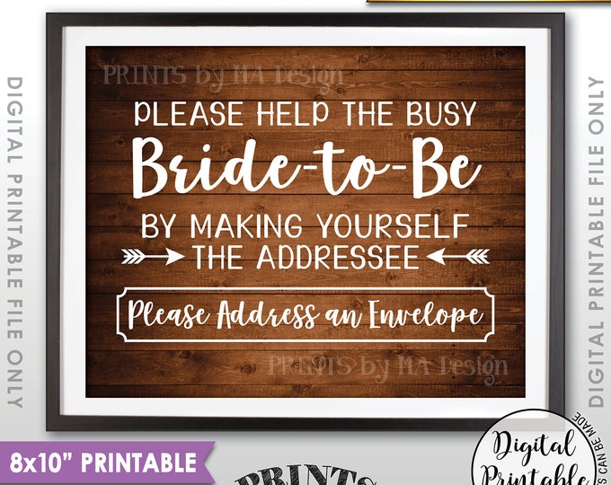 """Address Envelope Bridal Shower Sign Addressee Help the Bride by Addressing an Envelope Instant Download 8x10"""" Rustic Wood Style Printable"""