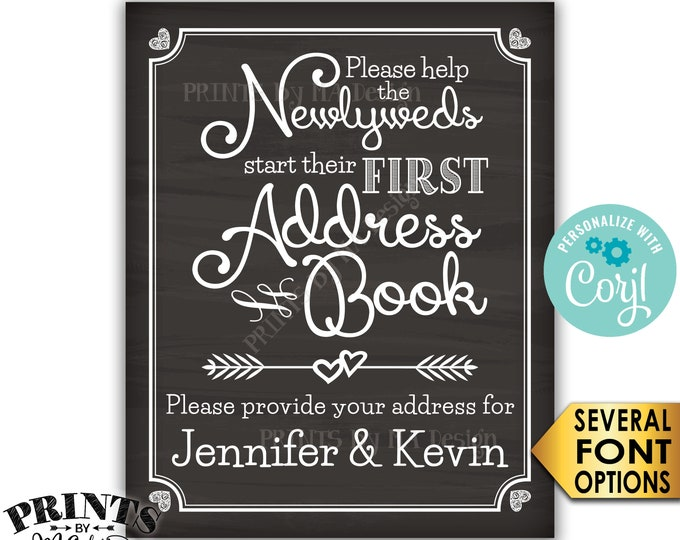 """Wedding Address Book Sign, Ask Guests for their Address, PRINTABLE 8x10/16x20"""" Chalkboard Style Wedding Sign <Edit Yourself with Corjl>"""