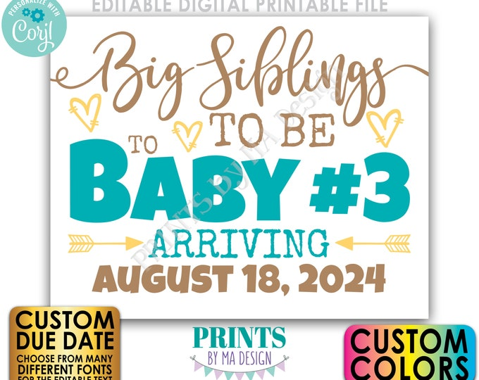 "Baby #3 Pregnancy Announcement, Big Siblings to Be to Baby Number 3, PRINTABLE 8x10/16x20"" Sign <Edit Yourself w/Corjl>"