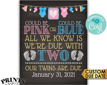 Twins Pregnancy Announcement, Could be Pink or Blue We're Due with Two, Chalkboard Style PRINTABLE Twins Sign <Edit Yourself with Corjl>