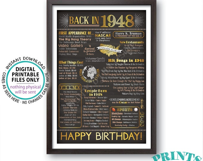 1948 Birthday Flashback Poster, Back in 1948 Birthday Decorations, '48 B-day Gift, PRINTABLE 24x36 Chalkboard Style 1948 B-day Sign <ID>