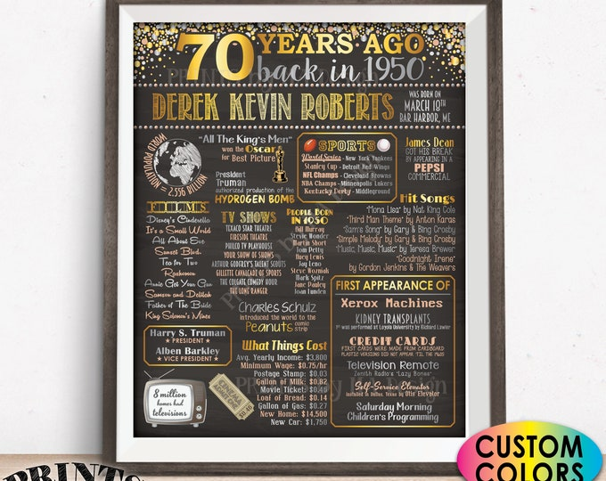 "Back in 1950 Poster Board, 70th Birthday Born in 1950 Sign, Flashback 70 Years Ago B-day Gift, Custom PRINTABLE 16x20"" 1950 Sign"