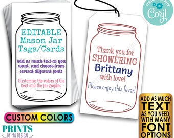 """Editable Jar Tags/Cards, Bridal or Baby Shower Party Favors,  Take a Mason Jar, Choose Text, PRINTABLE 2x3.5"""" Cards <Edit Yourself w/Corjl>"""
