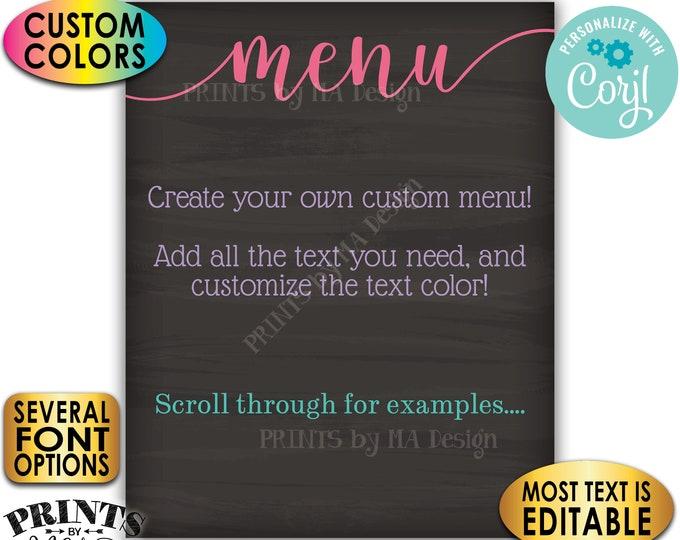 "Custom Menu Sign, Edit Color, PRINTABLE 8x10/16x20"" Chalkboard Style Menu (Birthday Anniversary Wedding Reunion) <Edit Yourself with Corjl>"