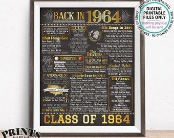 "Class of 1964 Reunion Flashback Poster, Back in 1964 Flashback to 1964, Gold, PRINTABLE 16x20"" Sign <ID>"
