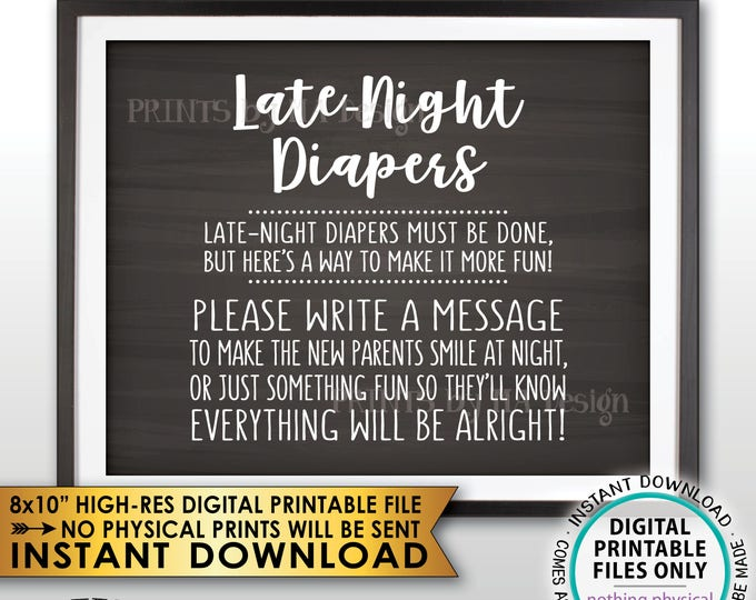 """Late Night Diaper Sign, Late-Night Diapers Sign the Diaper Thoughts, Baby Shower Game, Chalkboard Style PRINTABLE 8x10"""" Instant Download"""