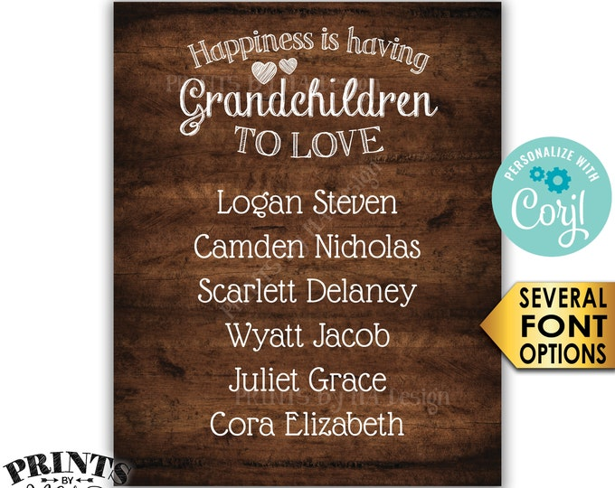 "Grandchildren Sign with Names of Grandkids, Grandparents Gift, PRINTABLE 8x10/16x20"" Rustic Wood Style Sign <Edit Yourself with Corjl>"