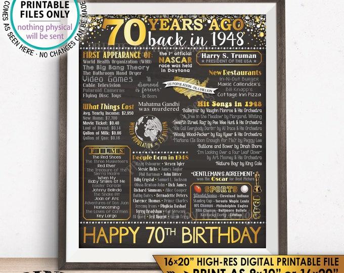 "70th Birthday Gift, Flashback 70 Years Ago Back in 1948 Born in 1948 Birthday, Gold, PRINTABLE 8x10/16x20"" Chalkboard Style B-day Sign <ID>"