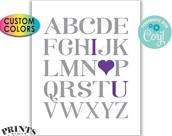 "Alphabet I Love You Sign, Playroom Wall Art, Nursery Decor, ABC I Love You, PRINTABLE 8x10/16x20"" Sign <Edit Colors Yourself with Corjl>"